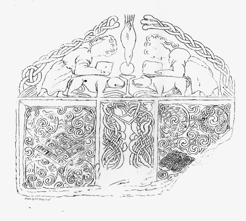 Drawing of the upper portion of the face of the Nigg cross-slab. From C Petley (1857), 'A short account of some carved stones in Ross-shire', Archaeologica Scotica, 4.