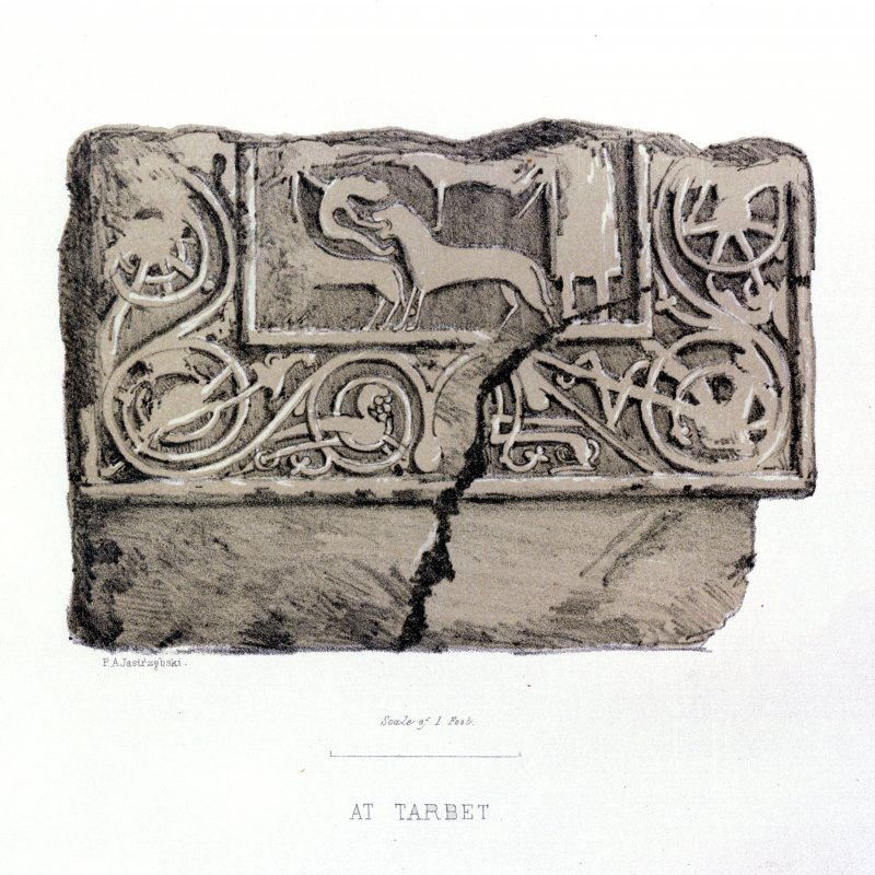 Fragment of cross-slab. From J Stuart, The Sculptured Stones of Scotland, vol. i, 1856, pl.xxx (detail).
