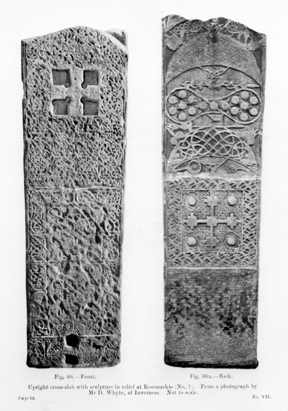 Photographs of face and reverse of the Rosemarkie Class II cross-slab. Fig. 60 and Fig. 60A from J R Allen and J Anderson, Early Christian Monuments of Scotland, pt.iii.. Digital copy of D15422.