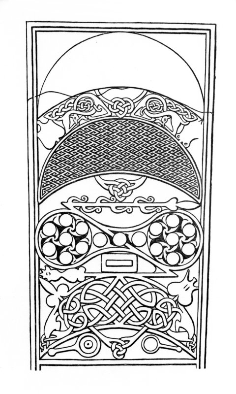 Line drawing of symbols on Rosemarkie Class II cross-slab. Fig. 62 from J R Allen and J Anderson, Early Christian Monuments of Scotland, pt.iii.. Digital copy of D 15423.