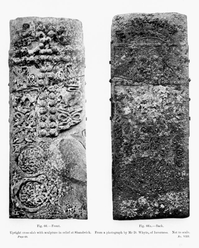 Photographs of face and reverse of the Shandwick Stone. Fig.66 and Fig.66A from J R Allen and J Anderson, Early Christian Monuments of Scotland, pt.iii. Digital copy of D 15425.