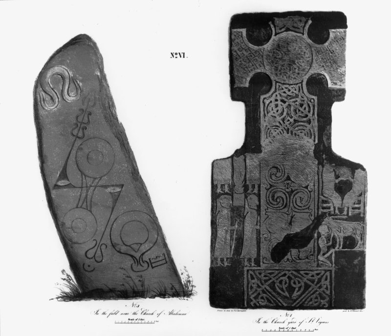 Illustration of face of cross-slab, (St Vigeans no.7) and face of Pictish symbol stone (Aberlemno no.1).