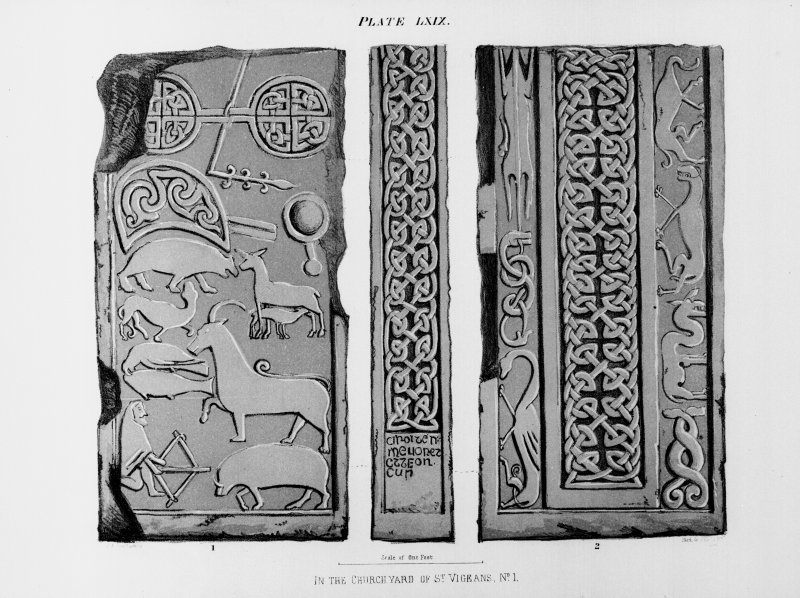 Illustration of face, reverse and side panel of Drosten Stone Pictish cross-slab (St. Vigeans no.1).