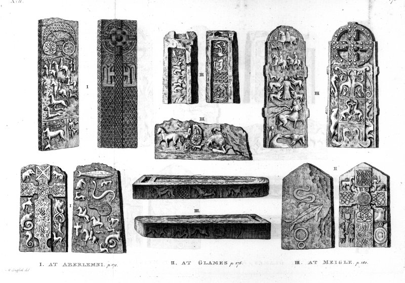 Illustrations of Aberlemno Roadside Pictish cross-slab, Glamis Manse Pictish cross-slab, Meigle Pictish cross-slabs 1 and 2, and Meigle Pictish sculptured stones, 9, 10, and 11. From T Pennant, Tour in Scotland, 1772.