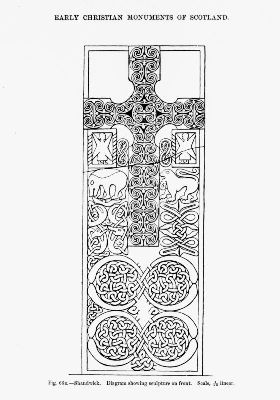 Line drawing of face of the Shandwick Stone. Fig.66B from J R Allen and J Anderson, Early Christian Monuments of Scotland, pt.iii.