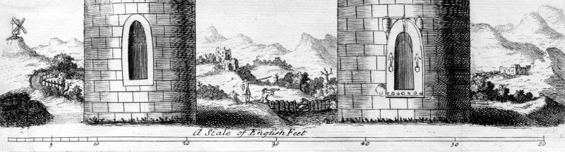 Detail of engraving of the Brechin and Abernethy round towers, depicting a surveyor at work. From Alexander Gordon, Itinerarium Septentrionalis (1726).