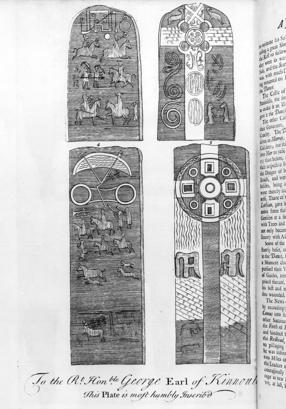 Engraving of reverse and face of the Aberlemno Roadside and Kirkyard cross-slabs. From Alexander Gordon, 'Itinerarium Septentrionalis' (1726), (pl.53).