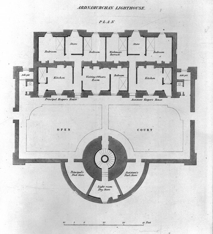 Ground floor plan of tower and houses