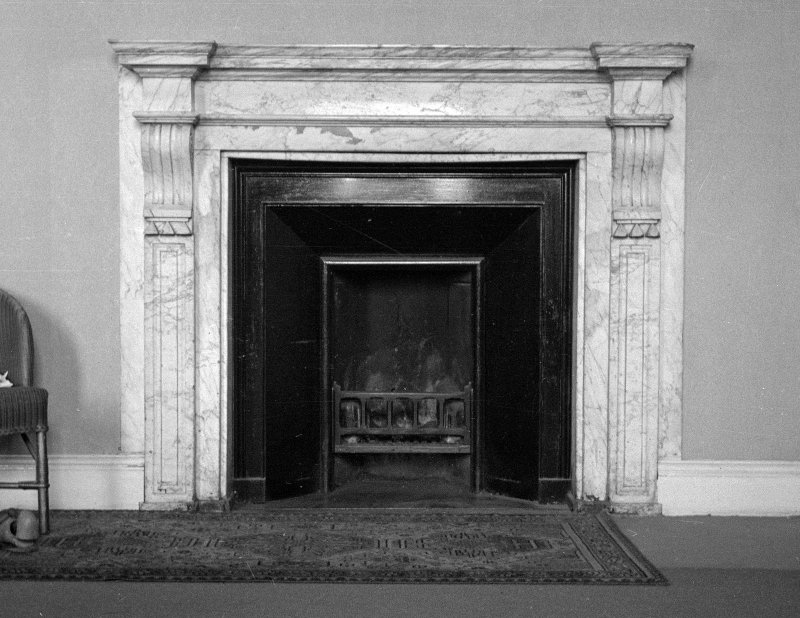 Interior. Detail of main bedroom fireplace.