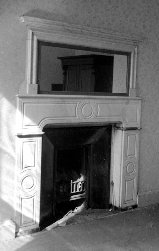 Interior. Detail of bedroom fireplace.