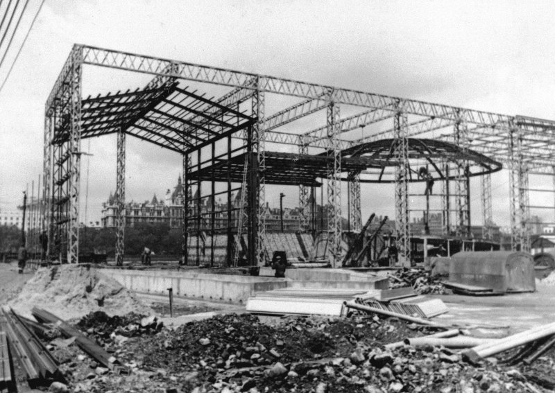 England, London, Sea and Ships Pavilion. View during construction.