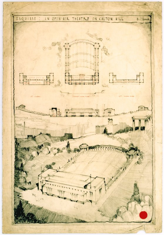 Scanned image of student material. Esquisse for 'an open air theatre on Calton Hill'. Perspective, plans, and section.