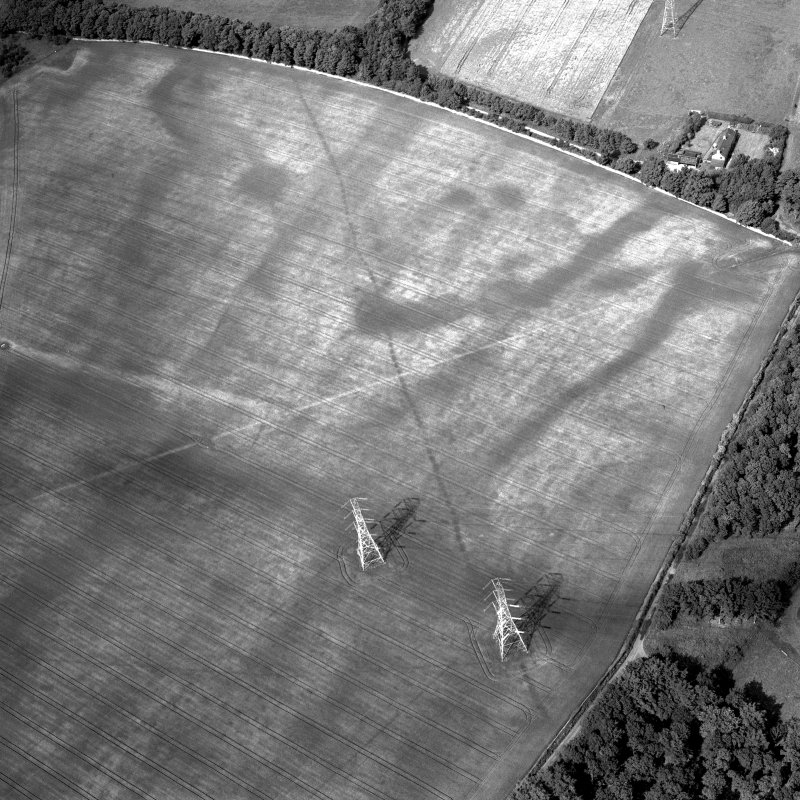 Scanned image of oblique aerial view centred on the cropmarks of the pit-alignment with the cropmarks of the square pit and the rig and the farmsteading adjacent, taken from the SSW.