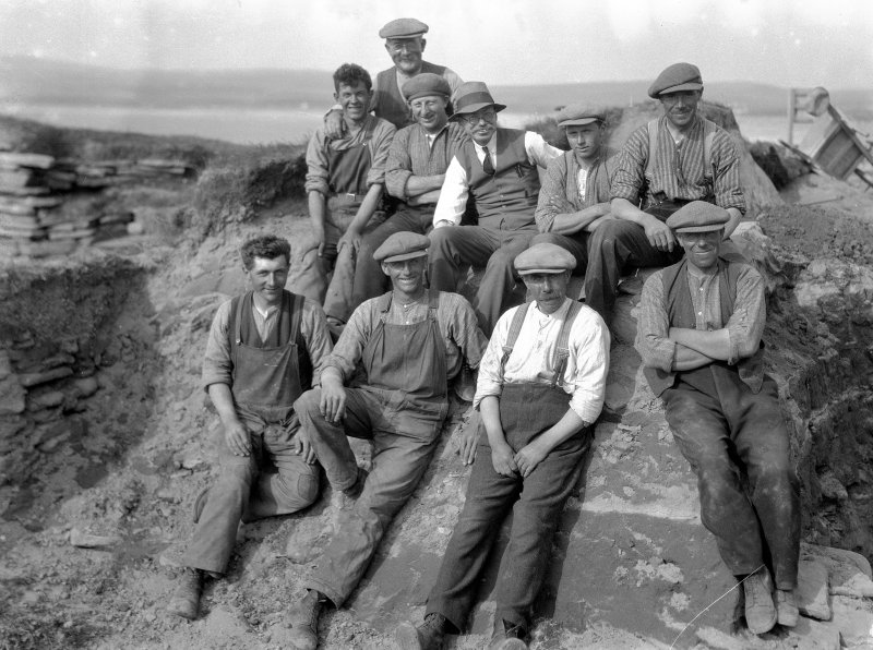 View of Vere Gordon Childe with a group of workmen during the excavations at Skara Brae in 1930.