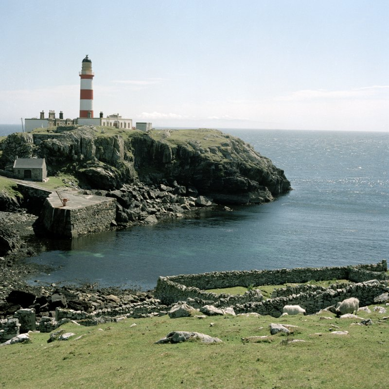 View of Eilean Glas lighthouse complex and associated harbour, Scalpay,  from NW