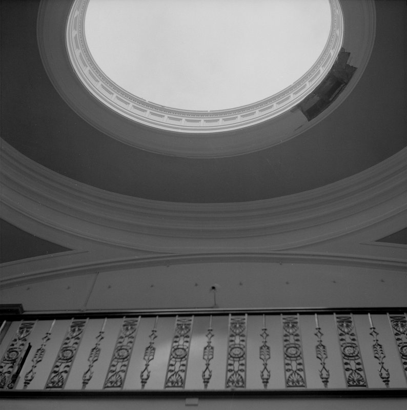 Glasgow, Castlemilk House, interior. View of balustrade and dome on second floor.