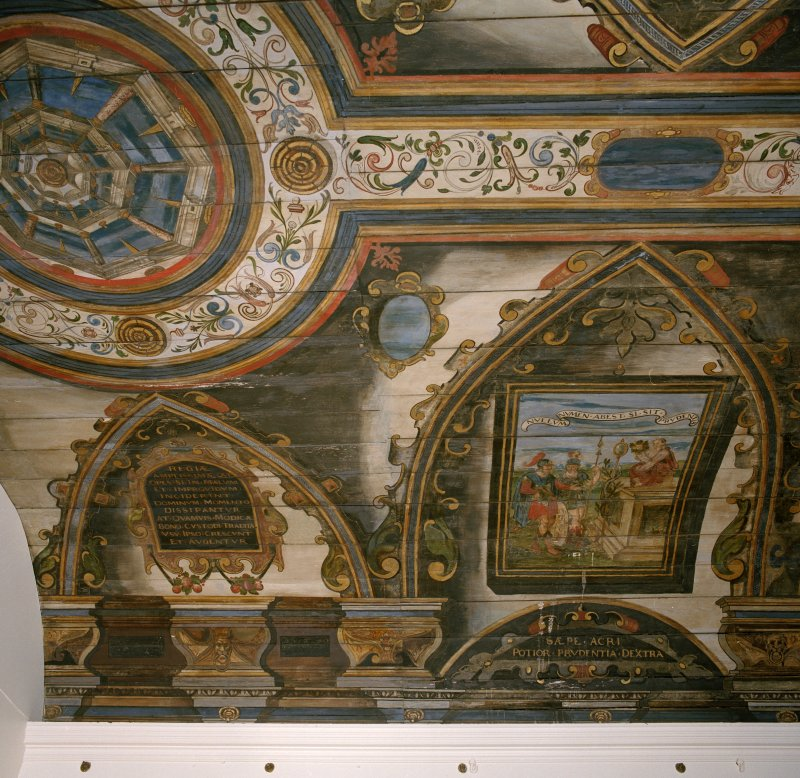 Interior. Scanned image of painted gallery, detail of painted panels.