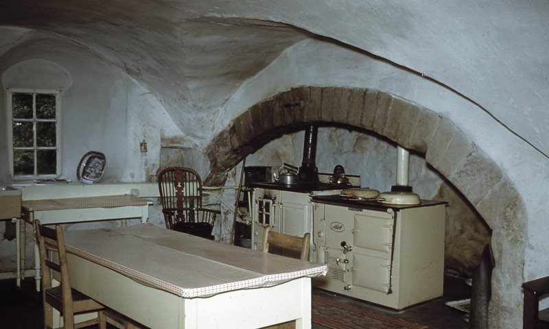 Interior. View of vaulted kitchen.