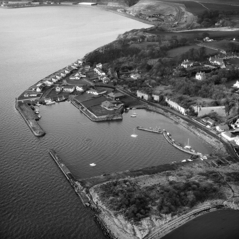Oblique aerial view of Charlestown including Harbour and Limekilns.