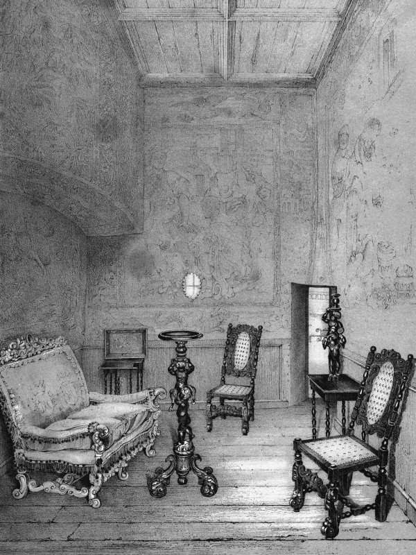 "Scanned image of drawing showing interior view of Mary Queen of Scots' Bedroom Dressing Room in Holyrood Palace Copied from ""Views of Holyrood"""