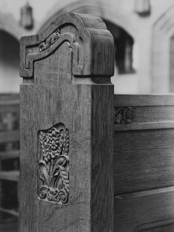 Religious building fixtures.   Copy of photograph showing detail of pew.