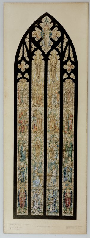 Reid Memorial Church, Photographic copy of design for stained glass window. Signed: 'Leslie G. Thompson' and 'James Ballantyne' and dated: '21.7.30'. Watercolour on board. Scale 1 inch: 1 foot.