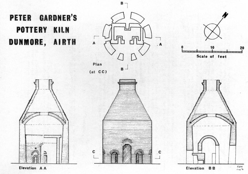 Drawing showing plan, sections and elevation of kiln, Dunmore Pottery.