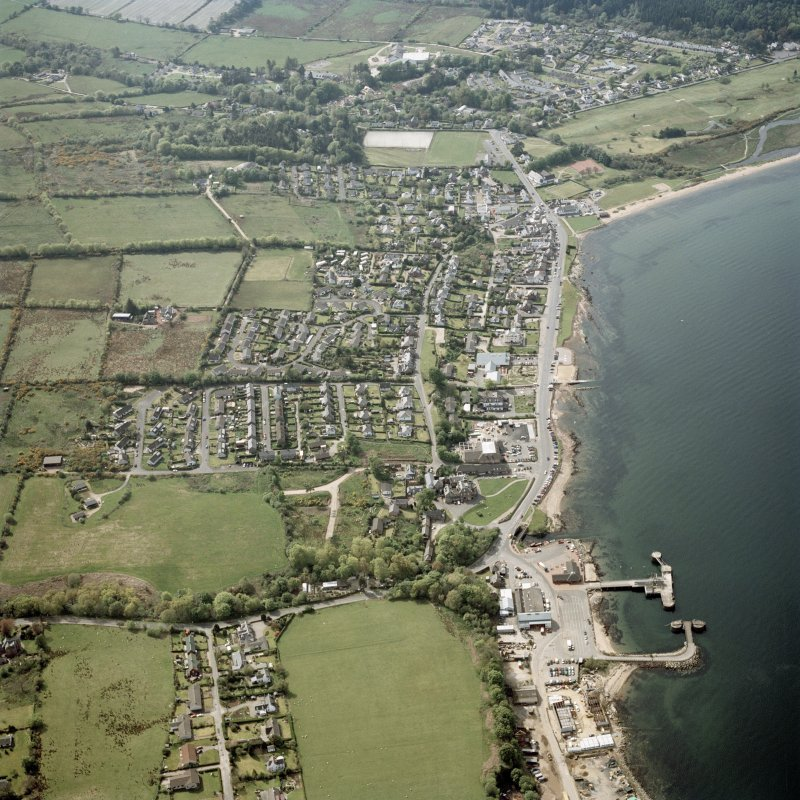Oblique aerial view centred on Brodick town and pier, Arran, taken from the ESE.