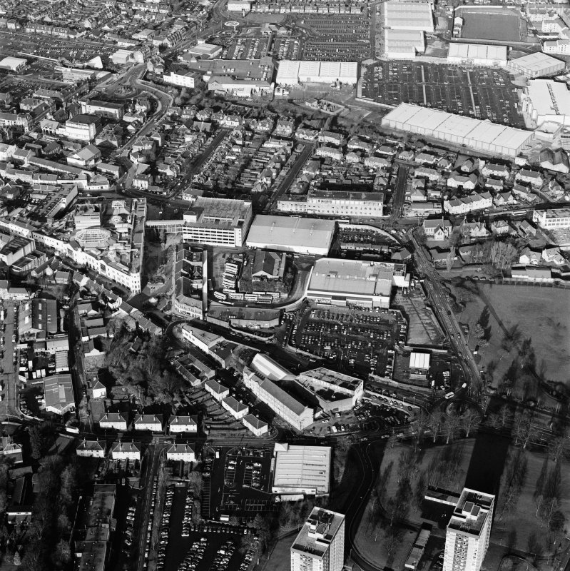 Oblique aerial view of Falkirk centred on the town, taken from the SSE.