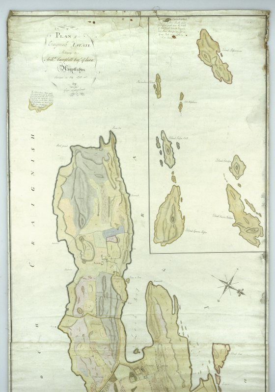Craignish Castle. Photographic copy of upper half of plan of estate by George Langlands.
