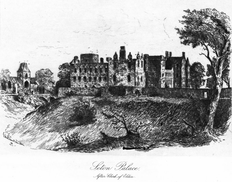Scanned image of engraving showing general view of Seton Palace and Seton Chapel.