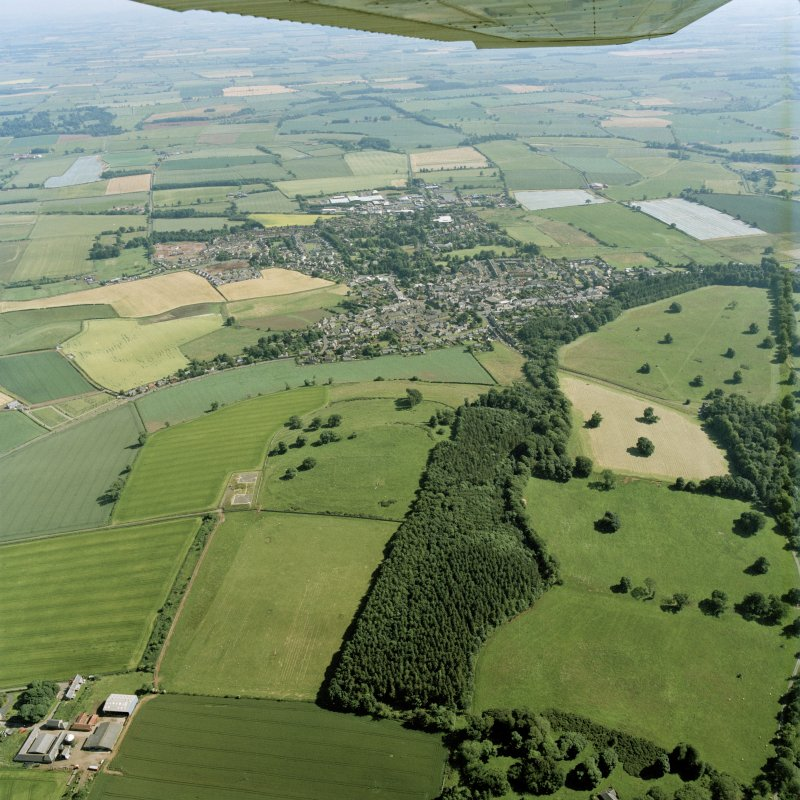 General oblique aerial view centred on the town, with the remains of the redoubt and  fort adjacent, taken from the N.