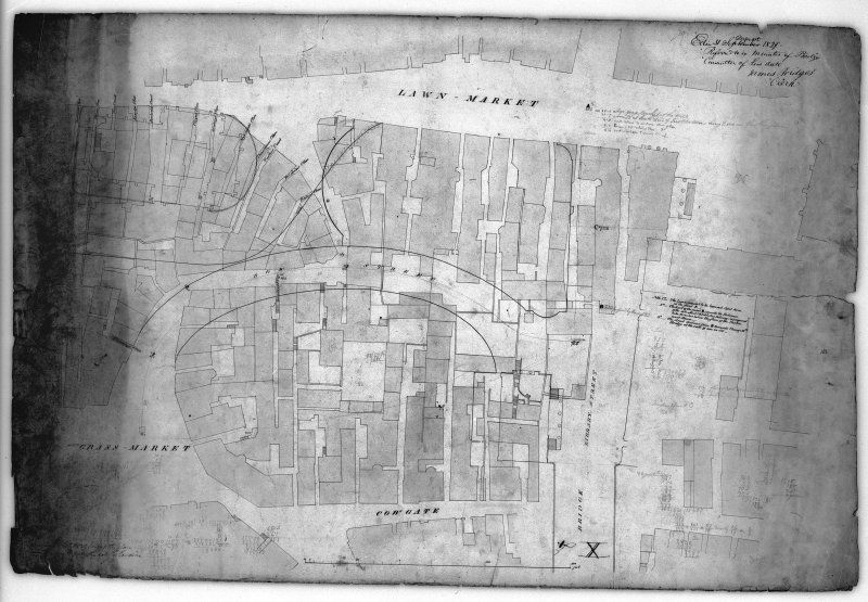 Scanned copy of plan of area showing Victoria Street (Bow Street) as to be altered
