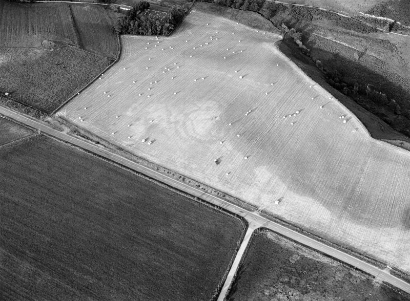 Oblique aerial view centred on the cropmarks of the circular enclosure at Barflat, looking to the ENE.