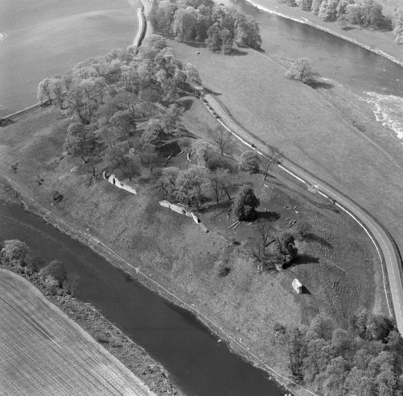 Oblique aerial view of Roxburgh Castle from NE.