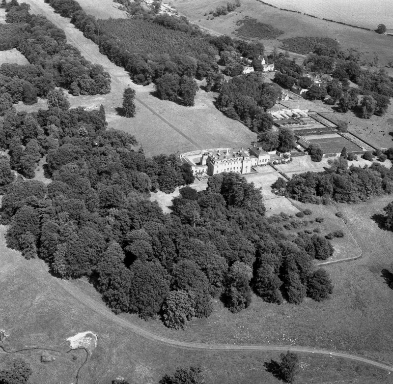 Oblique aerial view centred on Marchmont House, looking E.