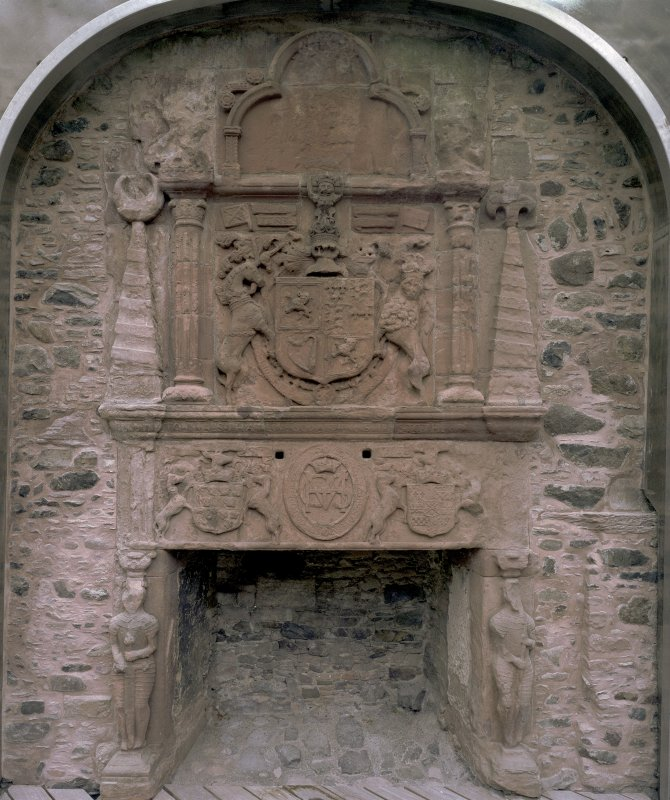 Huntly Castle, detail of fireplace.