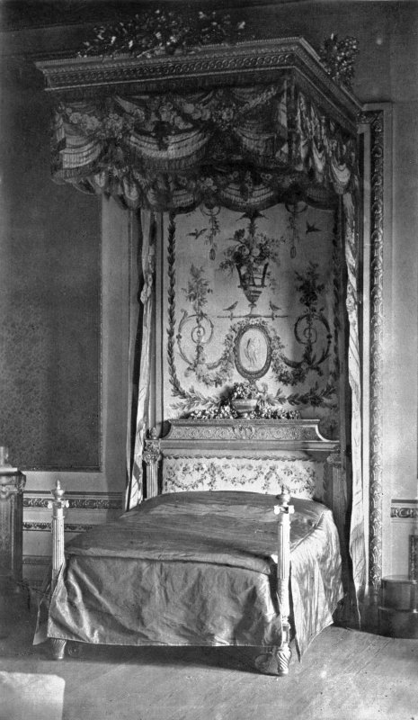 Interior. View of Louis XVI bedstead in state bedroom.
