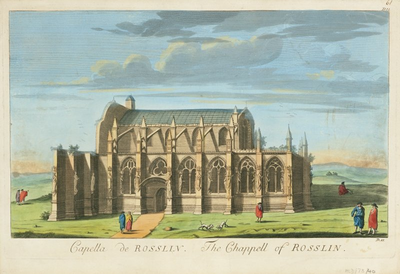 Scanned copy of drawing showing view from South. Titled: 'Capella de Rosslin. The Chappell of Rosslin' 'D.11'.