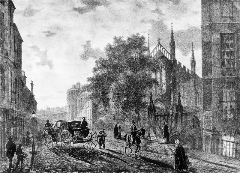 Scanned image of engraving showing view from N. Entitled: 'Broughton Street'
