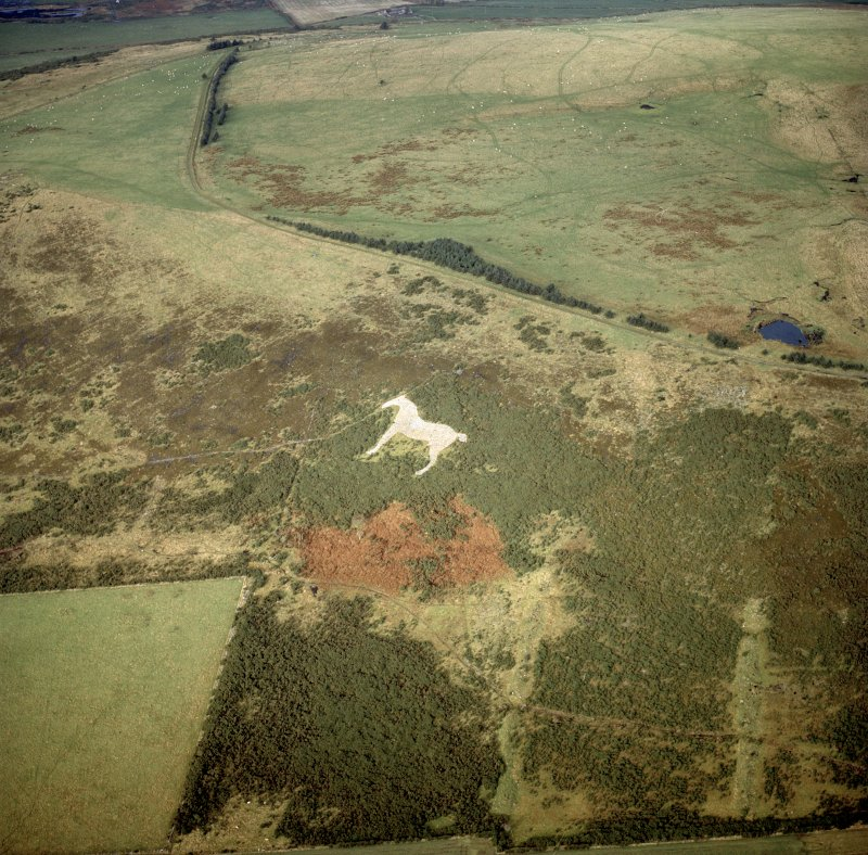 Oblique aerial view centred on the White Horse hill figure, taken from the S.