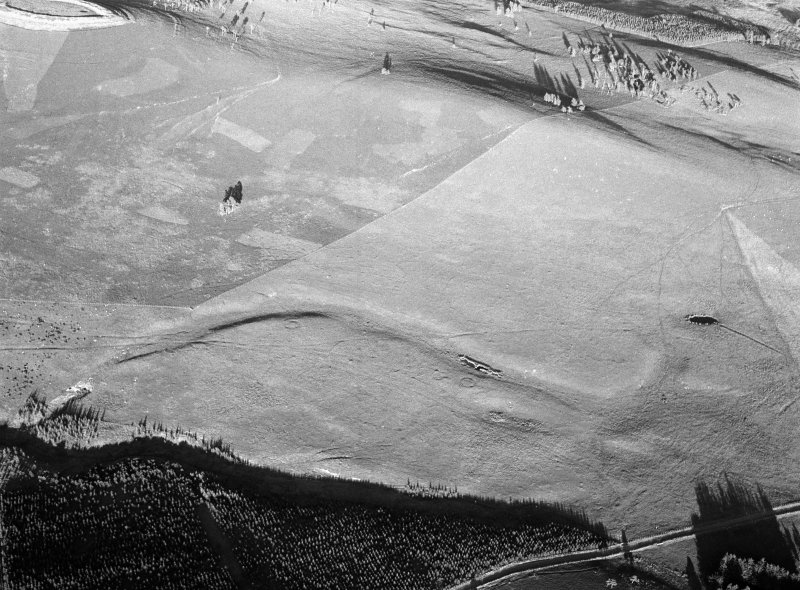 Oblique aerial view centred on the remains of ring ditch houses at White Caterthun, looking to the E.