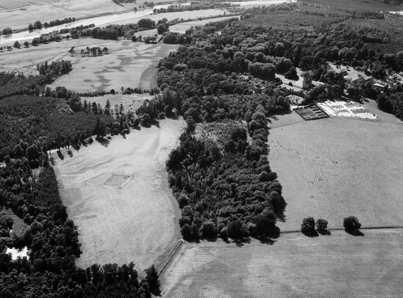 Oblique aerial view centred on the cropmarks of the timber hall and pit alignment at Crathes, looking to the WSW.