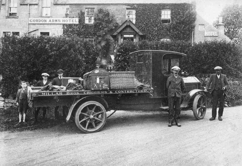 View of motor lorry of Millar Brothers, carriers and contractors, West Linton.