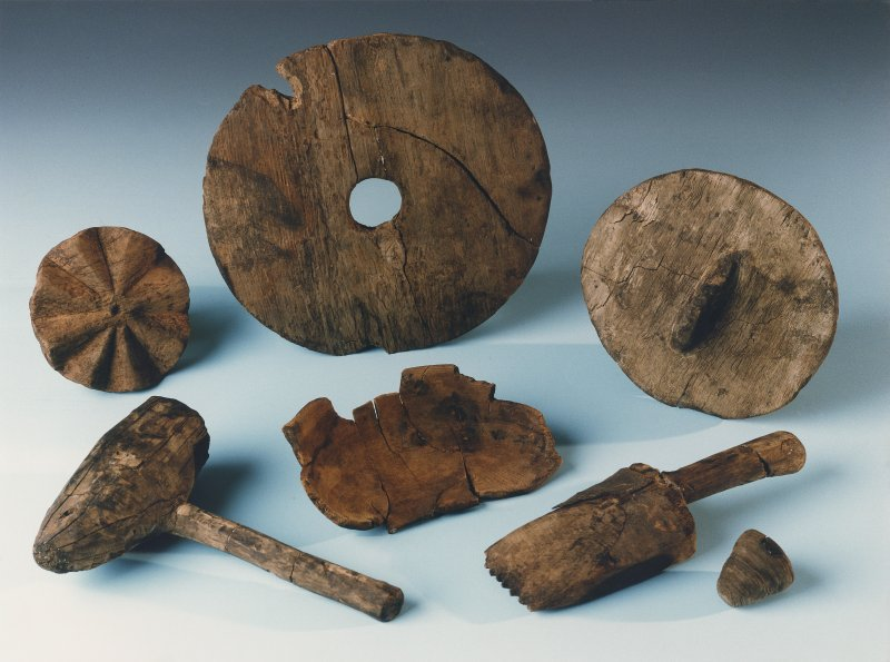 Colour photograph of wooden artefacts.