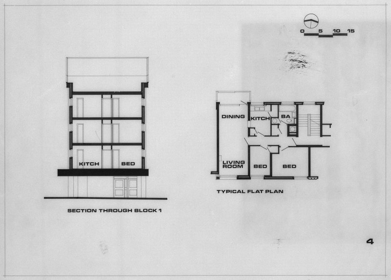 Copy of drawing showing typical plan of flat and section through block 1.