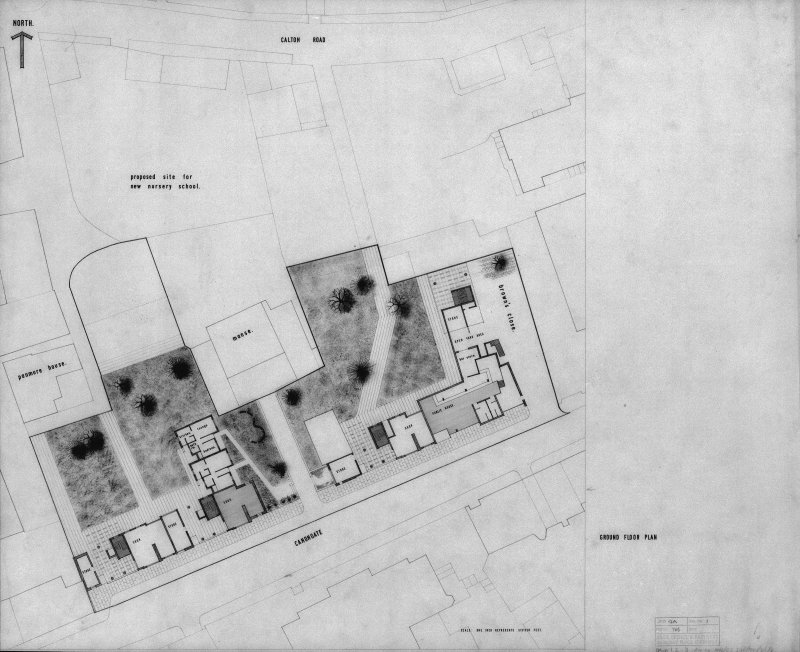 Copy of drawing showing ground floor plan of blocks 1, 2, and 3.