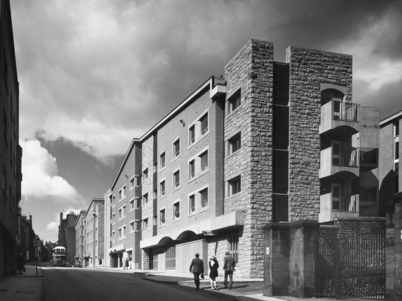 View of housing showing Canongate facades.