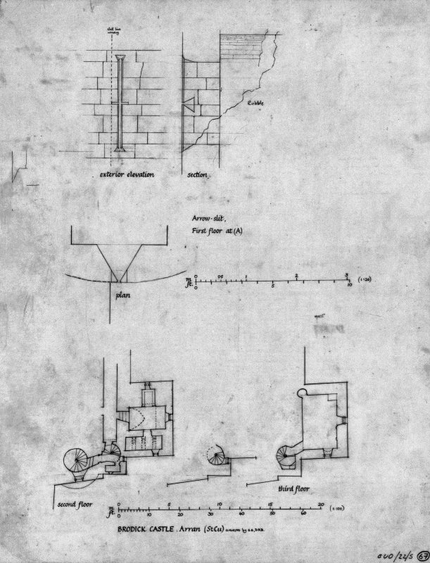 Scanned image of drawing showing part plans second and third floors with details of arrow slit.