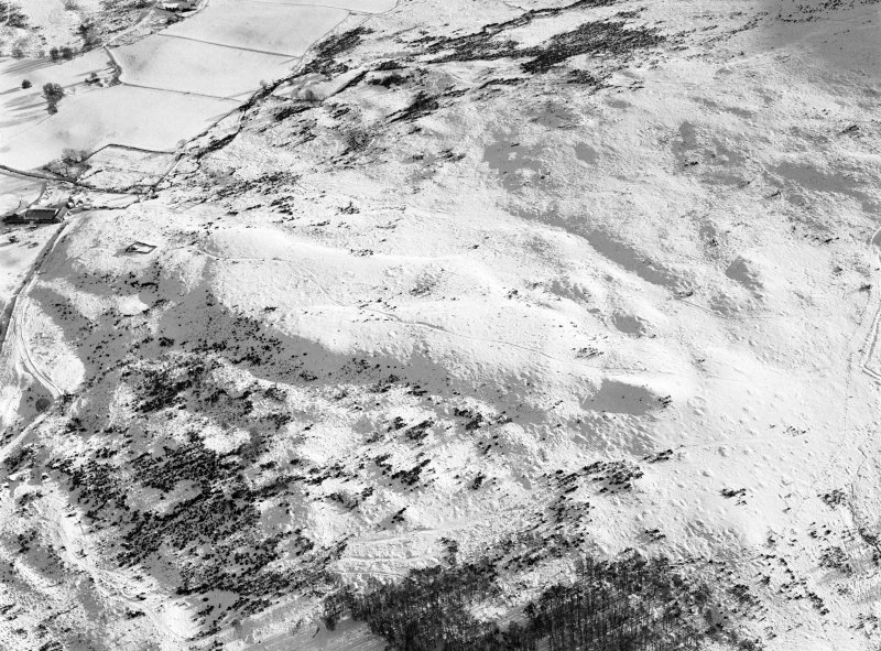 Oblique aerial view centred on the remains of hut circles and clearance cairns at Wester Clune, looking to the SSE.